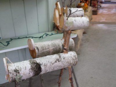 Christmas birch log deer