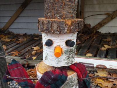 Christmas birch snowman