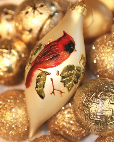 cardinal gold Christmas ornament